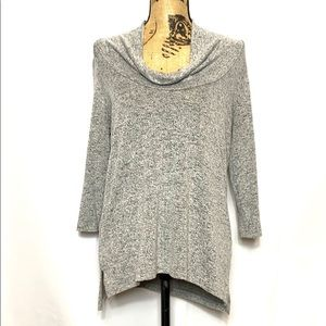 Market & Spruce Grey Knit Cowl Neck Sweater M